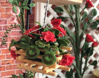 Miniature Geraniums,  Wood Hanging Basket With Red Geraniums, Dollhouse Flowers, Dollhouse Miniature, 1:12 Scale, Mini Flowers, Geraniums
