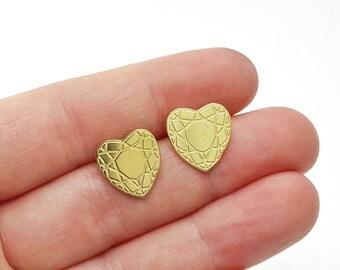 Faceted Heart Brass Post Earrings // LanaBetty