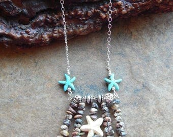 Starfish necklace, mermaid necklace, coachella style, long boho necklace, statement necklace, layering necklace, festival jewelry