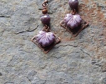 Boho leaf earrings - lavender drop earrings - little czech glass maple leaves - dangle earrings - woodland jewelry - inspired by nature