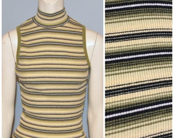 Vintage 1990's Ribbed Sleeveless Mock Turtleneck Tank Top Striped Pattern Fitted Green and Yellow Stripes Union Bay Size Medium Stretchy