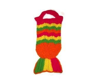 Mermaid Tail Tote  Crochet Tote Bag  Girls Tote Colorful Bag Hot Pink  Bright Yellow Bright Green Orange