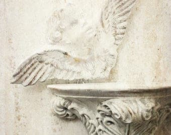 French Shabby Chic Baroque Sconce w Cherub. Rustic Shabby Distressed white. Claw & Ball Pediment. Vintage Plasterware Angel Plaque