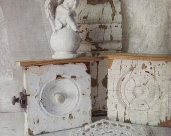 Architectural Art Decor. Pair of Wood Altered Shelves. Antique Rustic Wall Sconces. Shabby Chippy Wood.  Mini Shelves