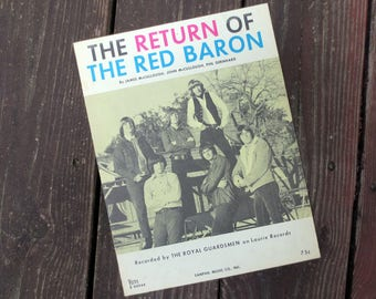1967 The Return of the Red Baron Vintage Sheet Music, Recorded by The Royal Guardsmen on Laurie Records