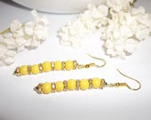 Yellow and Gold Earrings Costume Jewelry Sparkly Beads Beaded Dangle With Faux White Diamonds Fashion Style Gift For Her Woman wvluckygirl