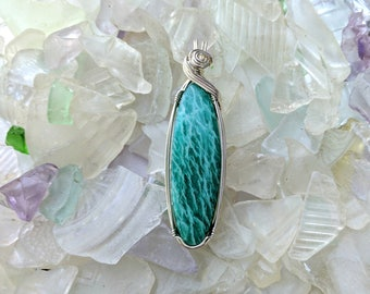 Amazonite pendant in sterling silver wire