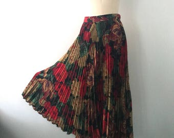 80s UNGARO autumnal floral fruit print knife pleated SKIRT 10 1980s vintage