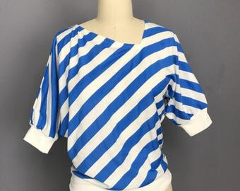 80s blue and white striped asymmetrical top medium WT81333