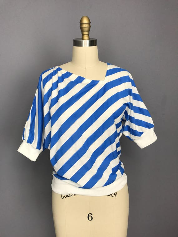 Blue and White Striped Asymmetrical Top