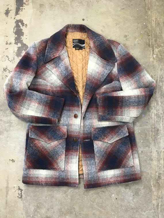 60s Vintage Lined Fuzzy Plaid Coat
