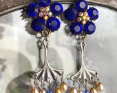 royal flowers - blue rhinestone earrings dangle drop pearl art nouveau vintage inspired jewelry, the french circus