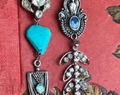 zuni - vintage assemblage earrings sterling silver turquoise native american mexican inlay art deco rhinestone dangle drop the french circus
