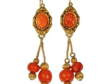 Coral faceted bead dangle earrings 18kt gold Georgian jewelry ref.09177-4314