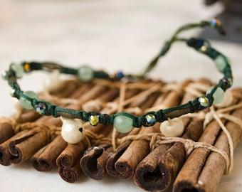 Macrame Bell Anklet - Green fairy - Green white brass Gypsy anklet, tribal jewellery, fairy anklet, summer festival