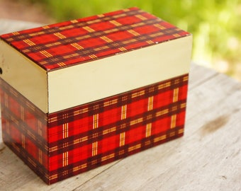 Vintage 50s-60s Plaid Metal Recipe Card Box/File Box/Retro/Mid Century