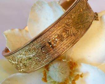 Antique 1930s Gold Filled Victorian Revival Wedding Etched Bracelet Dunn Bros Engraved