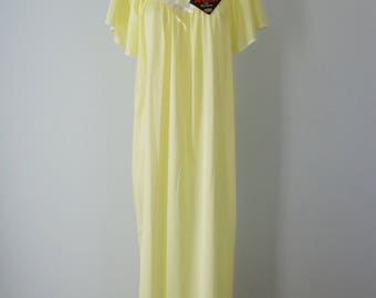Vintage Nightgown, 1970s Nightgown, Yellow Nightgown, Queentex, Vintage Yellow Nightgown, NWT, Nightgown
