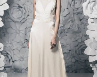 Ivory Illusion Neckline Beaded Charmeuse Special Occasion Dress