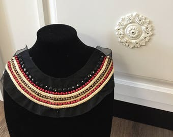 Black Tulle Neckline Applique Embellishment Hand Beaded Braided Twine with Red Brown Wood Beads Ethnic Tribal BOX F ST