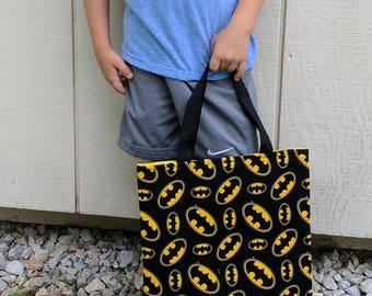 Batman Boys Tote - Pre School Tote -  Pre-K Tote - School Tote - Toddler Tote - Boys Batman Tote -Superhero Book Tote -  Handmade