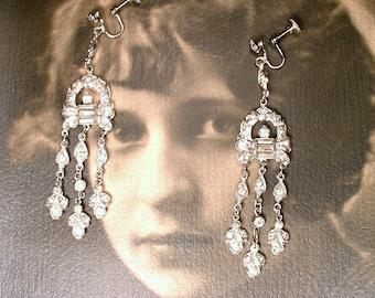 Antique Art Deco FLAPPER Rhinestone Dangle Earrings, 1920 Paste Chandelier Statement Earrings, Gatsby Bridal Vintage Wedding Pave Screw Back