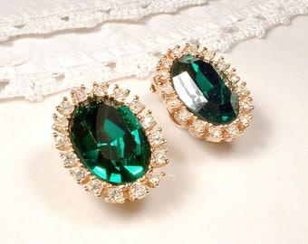 Vintage Emerald Rhinestone Gold Earrings, Art Deco Dark Green & Clear Pave Crystal Clip On/Back Earrings, Bridal Wedding Designer TARA 1960s