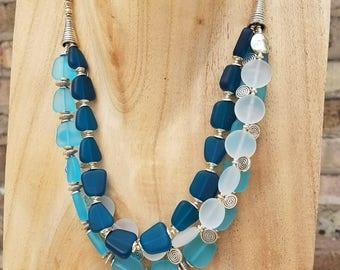 Blue/Turquoise Seaglass Neckalace
