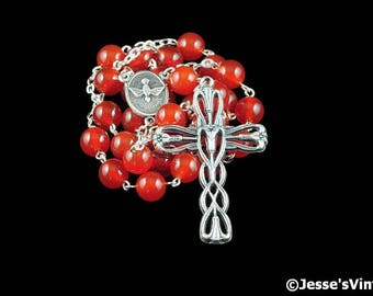 Anglican Rosary Beads Red Orange Carnelian Natural Stone Prayer Beads Silver Christian Episcopal Rosary