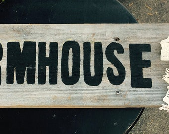 Farmhouse wood sign Lace Ribbon Chippy Wood