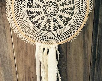 Doily Dreamcatcher Crochet Vintage Lace Cream White