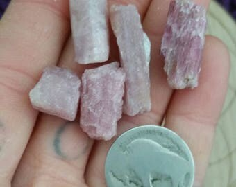 Pink Tourmaline Raw Natural 5 pieces Gridding Stones Set Crystals Crystal Grid Natural Small Light 12g 12 grams