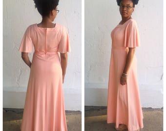 1970s Grecian Coral Maxi Dress // Bonwit Teller Gown // 1970s Peach Dress Flutter Sleeves //31