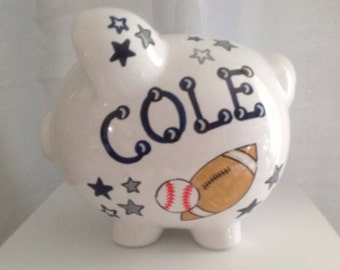 Personalized Large Piggy Bank All Sports- Football. Basketball, Soccer, Baseball-Baby Shower Gift Centerpiece
