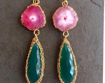 Spring Awakening. Fuschia Pink Solar Quartz. Green Onyx 14 Kt Gold Fill Crochet Earrings