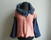 Upcycled Sweater with Reconstructed Denim, Recycled Jeans, Wearable Art Tops, Repurposed Clothing, Avant Garde Cowl Neck Sweater