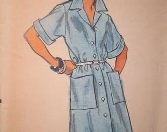 Vogue 8788 Vintage 1970's Shirt Dress Pattern- Shirt Collar Dress Pattern -Button Front Dress Pattern - Boyfriend Dress Pattern-Sz 8 Bust 31