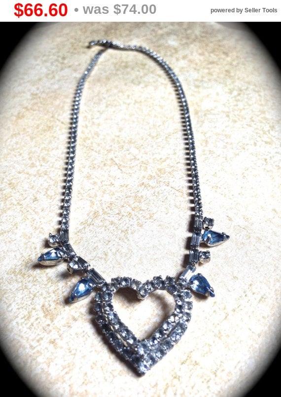 Summer Sale Rhinestone Heart Necklace, Rhinestone Bridal Heart Rhinestone Necklace