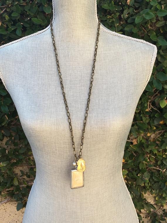 Long bohemian buddha necklace, handmade zen jewelry