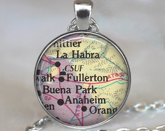 CSUF necklace, California State University at Fullerton map necklace CSUF pendant graduation gift for graduate college key chain key ring