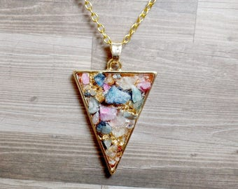 Colorful Quartz Triangle Necklace - Druzy Triangle Pendant - Arrow Necklace - No. 5