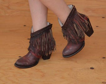 Rusted Red Leather Zip Up Booties With Unique Fringe Detail SZ 8.5 / 9
