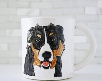 Bernese Mountain Dog Mug | dog coffee mug tea cup | pet portrait mug | in stock