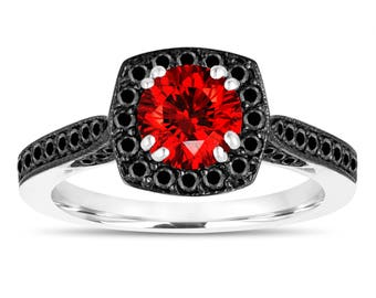 1.16 Carat Red Diamond Engagement Ring, Wedding Ring 14K White Gold Certified Halo Pave Unique