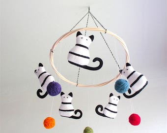 Nursery mobile cats, baby mobile cats, kittens, black and white, colorful, nursery decor cats, shower gift, new baby, organic, cosy, stripes