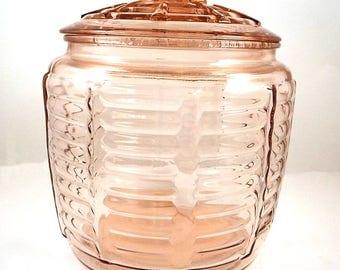 Vintage Pink Depression Glass Cookie Jar - Anchor Hocking Biscuit Barrel - Lidded Canister - 1940's Kitchen Jar - Art Deco Decor
