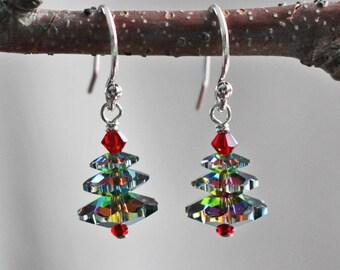 Christmas Tree Earrings - Christmas Earrings - Green Christmas Tree Earrings - Holiday Earrings - Pine Tree Earrings