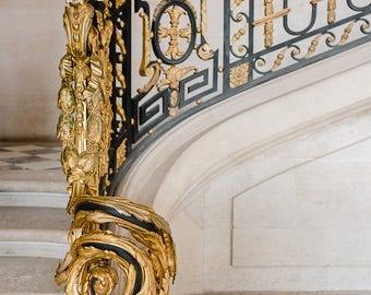 Golden Staircase at the Petit Trianon of Versailles - Paris, France Travel Fine Art Photography Print
