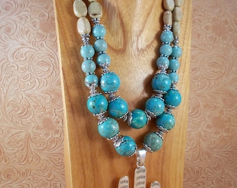 Cowgirl Necklace Set - Chunky Jasper and Turquoise Howlite - Southwestern Style Saguaro Cactus