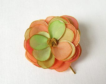 Tropical rose hair bobby pin - natural silk rose - coral, chartreuse, lime green and gold - hand painted silk flower hair pin